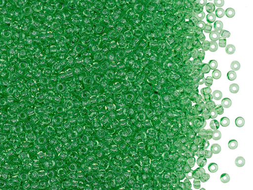 Rocailles Seed Beads 11/0, Crystal Light Green Solgel Colored, Czech Glass