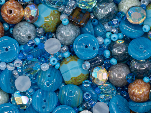 Glass Bead Mix , Light Blue, Czech Glass
