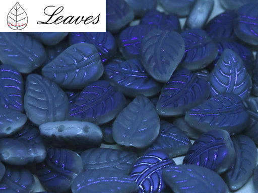Leaves Beads 7x10 mm, 2 Holes, Chalk White Blue Flare Full Matted, Czech Glass