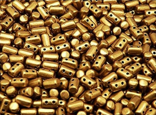 Rulla Seed Beads 3x5 mm, 2 Holes, Crystal Bronze Gold, Czech Glass