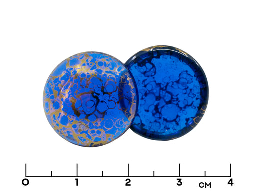 1 pc Czech Glass Cabochons 18 mm, Sapphire Bronze, Czech Glass