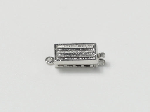 Clasps 13x7 mm, Rhodium Plated, Metal