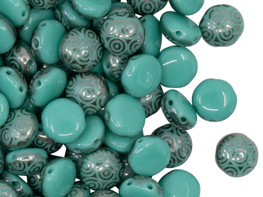 Candy Beads 8 mm, 2 Holes, Turquoise Green Chrome Laser Circles, Czech Glass