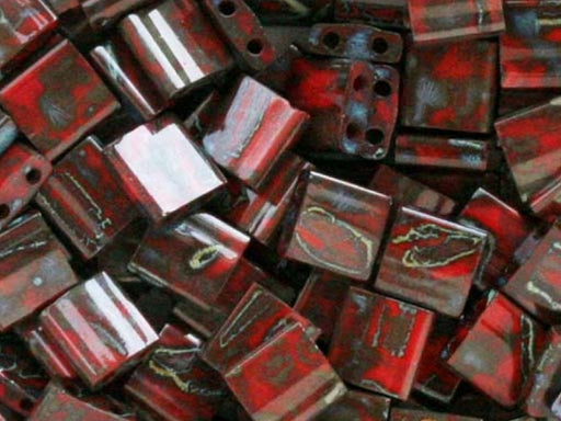 Tila™Beads 5x5 mm, 2 Holes, Red Picasso, Miyuki Japanese Beads
