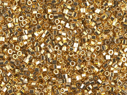 Delica Beads Cut 11/0, 24KT Gold Plated, Miyuki Japanese Beads