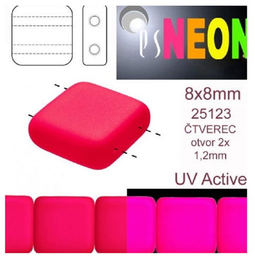 Tile Neon Beads 8x8x3.2 mm, 2 Holes, Neon Pink, Czech Glass