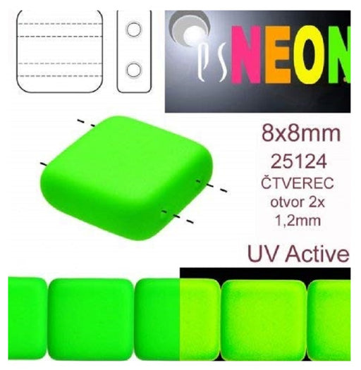 Tile Neon Beads 8x8x3.2 mm, 2 Holes, Neon Green, Czech Glass