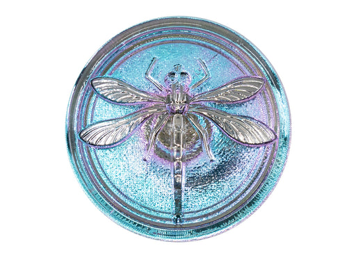 Czech Glass Buttons Hand Painted, Size 14 (31.5mm | 1 1/4''), Light Blue Violet Chameleon With Silver Dragonfly, Czech Glass