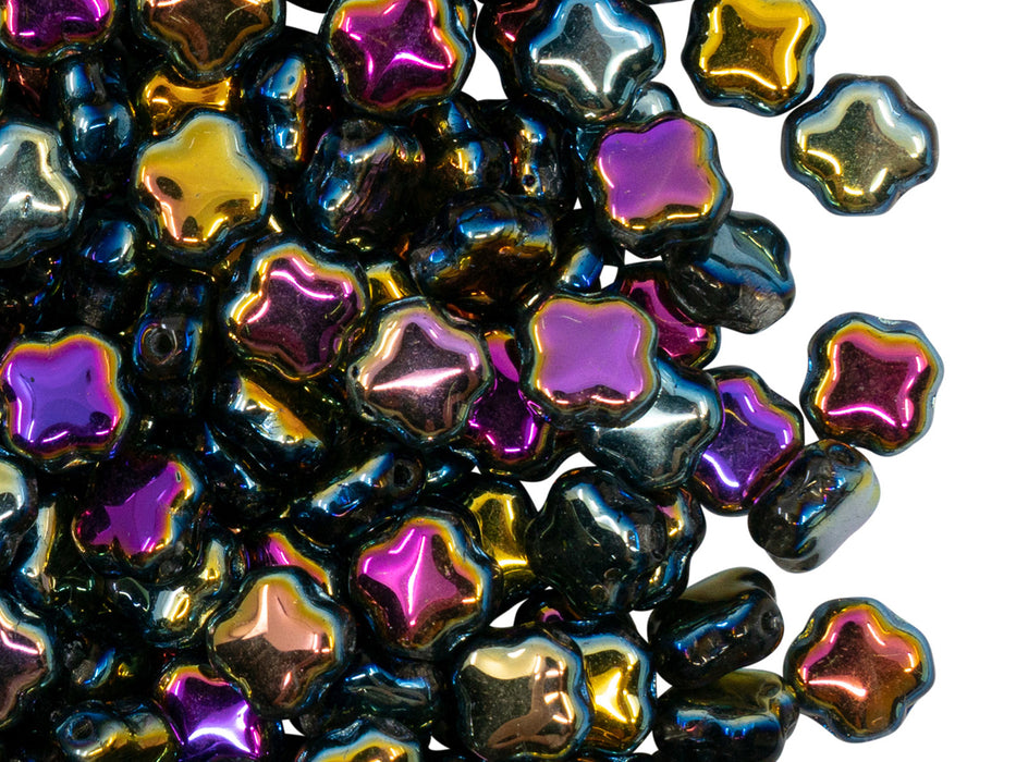 Four Pointed Star Beads 7x7x4 mm, Crystal Sunset, Czech Glass