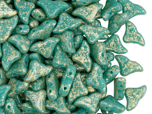 Helios® par Puca® Beads 10x6 mm, 2 Holes, Opaque Green Turquoise Splash, Czech Glass