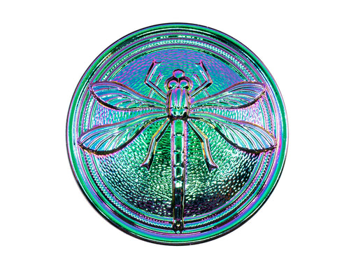 Czech Glass Button Hand Painted, Size 14 (31.5mm | 1 1/4''), Jet Vitrail Purple Green, Czech Glass