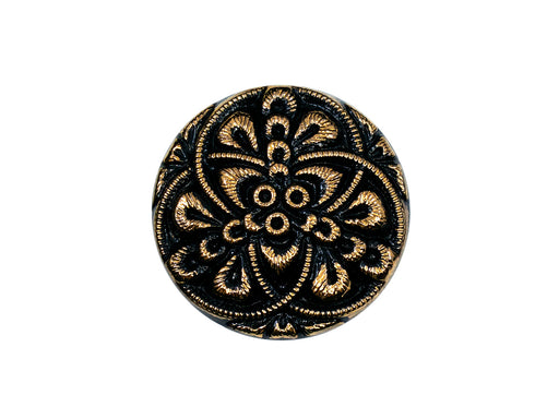 Czech Glass Buttons Hand Painted, Size 10 (22.5mm | 7/8''), Jet Black With Gold Ornament, Czech Glass