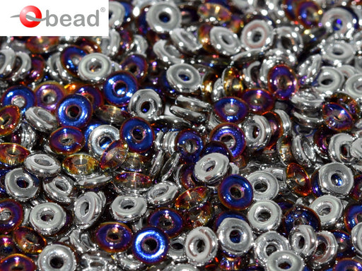 O Beads 4x1 mm, Crystal Volcano, Czech Glass