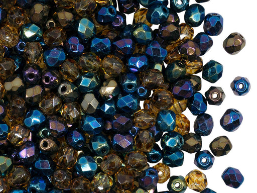 Fire Polished Faceted Beads Round 4 mm, Heavy Metals Mix, Czech Glass