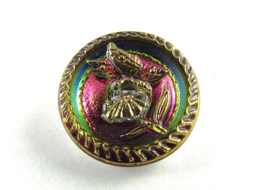 Czech Glass Button Hand Painted, Size 10 (22.5mm | 7/8''), Magic Orchid Gold, Czech Glass