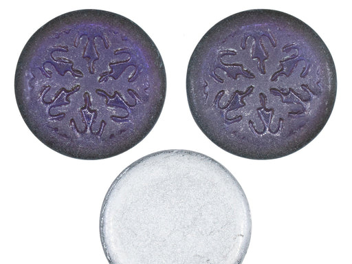 3 pcs Czech Glass Cabochons 21 mm, Crystal Matte Backlit Purple Haze, Czech Glass