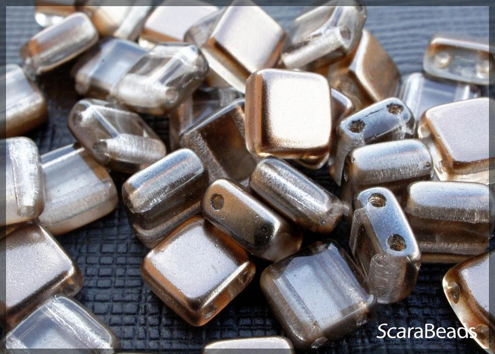 40 pcs 2-hole Tile Beads, 6x6x3.2mm, Pearl Bronze, Czech Glass