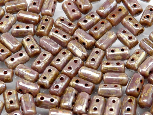 20 g 2-hole Rulla™ Seed Beads, 3x5mm, Alabaster Lilac Picasso, Czech Glass