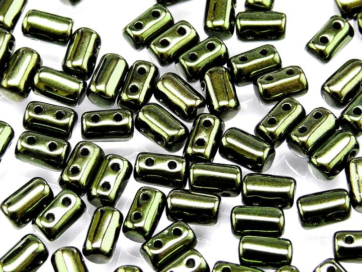 2-hole Rulla™ Seed Beads, 3x5mm, Jet Green Luster, Czech Glass