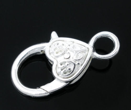1 pc Lobster Clasp Heart Shaped, 25x13mm, Silver Plated
