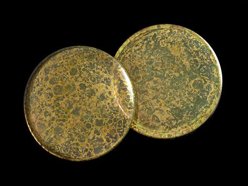 1 pc Cabochon Par Puca®, 25mm, Crystal Amber Bronze, Czech Glass