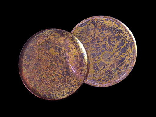 1 pc Cabochon Par Puca®, 25mm, Crystal Violet Bronze, Czech Glass