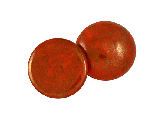 1 pc Cabochon Par Puca®, 25mm, Opaque Coral Red Bronze, Czech Glass