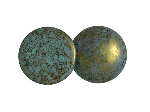 1 pc Cabochon Par Puca®, 25mm, Opaque Aqua Bronze, Czech Glass