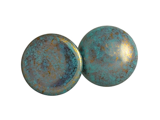 1 pc Cabochon Par Puca®, 25mm, Opaque Blue Turquoise Bronze, Czech Glass