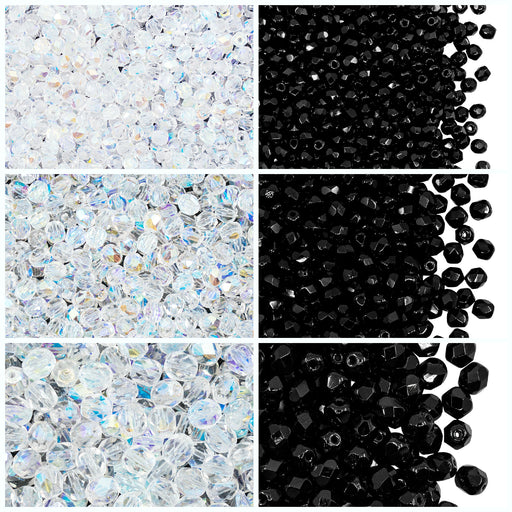 Set of Round Fire Polished Beads (3mm, 4mm, 6mm), 2 colors: Jet Black and Crystal AB, Czech Glass