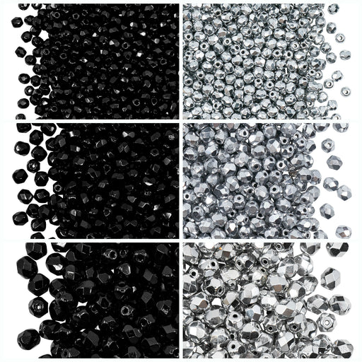 Set of Round Fire Polished Beads (3mm, 4mm, 6mm), 2 colors: Jet Black and Crystal Full Labrador, Czech Glass