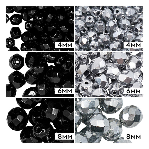 Set of Round Fire Polished Beads (4mm, 6mm, 8mm), 2 colors: Jet Black and Crystal Full Labrador, Czech Glass