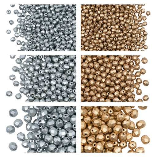 Set of Round Fire Polished Beads (3mm, 4mm, 6mm), 2 colors: Aztec Gold and Silver (Aluminium) Matte, Czech Glass