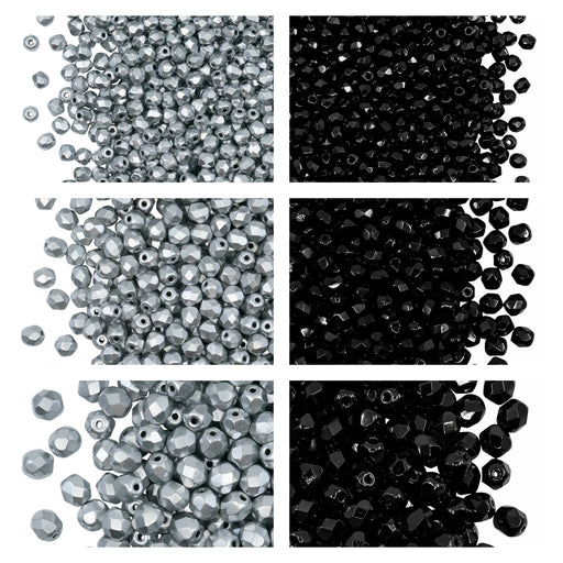 Set of Round Fire Polished Beads (3mm, 4mm, 6mm), 2 colors: Jet Black and Crystal Full Aluminum, Czech Glass