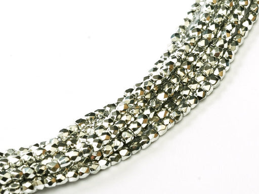 150 pcs Fire Polished Faceted Beads Round, 2mm, Crystal Full Labrador (Silver Metallic), Czech Glass