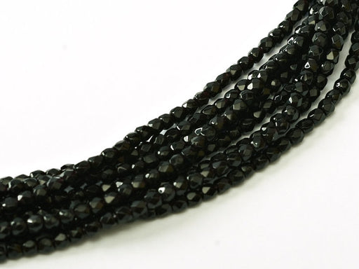 150 pcs Fire Polished Faceted Beads Round, 2mm, Jet Black, Czech Glass