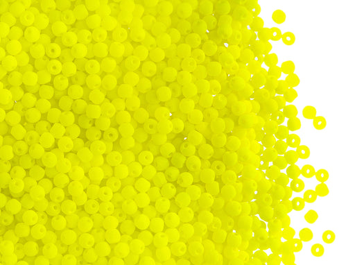 4 g Round NEON ESTRELA Beads, 2mm, Yellow, Czech Glass