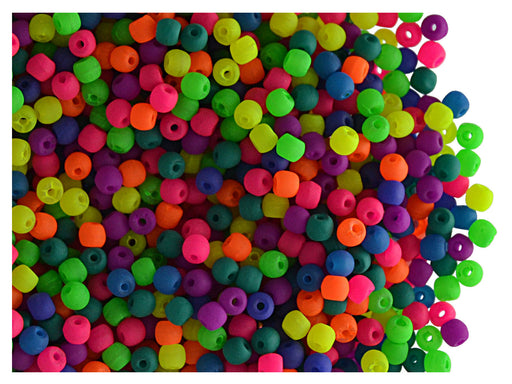 4 g Round NEON ESTRELA Beads, 2mm, Mix, Czech Glass
