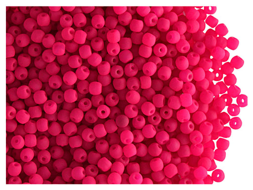4 g Round NEON ESTRELA Beads, 2mm, Pink, Czech Glass