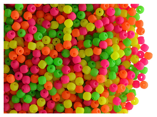 4 g Round NEON ESTRELA Beads, 2mm, Warm Mix, Czech Glass