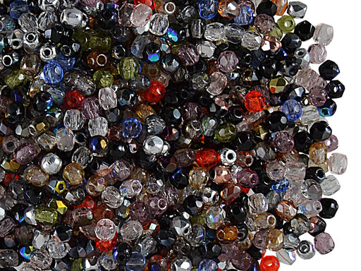 150 pcs Fire Polished Faceted Beads Round, 2mm, Mix, Czech Glass