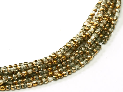 150 pcs Round Pressed Beads, 2mm, Crystal Amber, Czech Glass