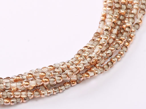 150 pcs Round Pressed Beads, 2mm, Crystal Capri Gold, Czech Glass