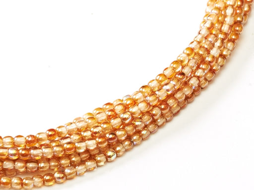 150 pcs Round Pressed Beads, 2mm, Crystal Orange Rainbow, Czech Glass