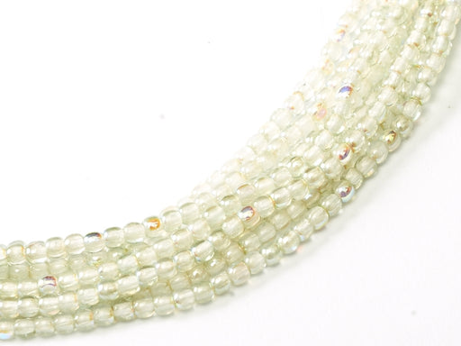 150 pcs Round Pressed Beads, 2mm, Crystal Green Rainbow, Czech Glass