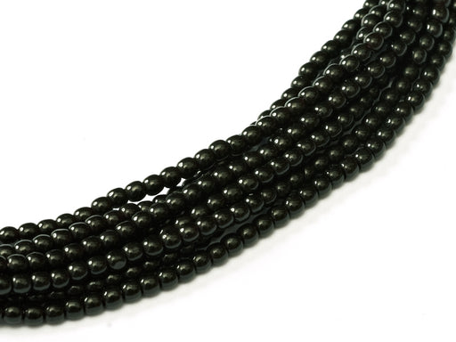 150 pcs Round Pressed Beads, 2mm, Jet Black, Czech Glass