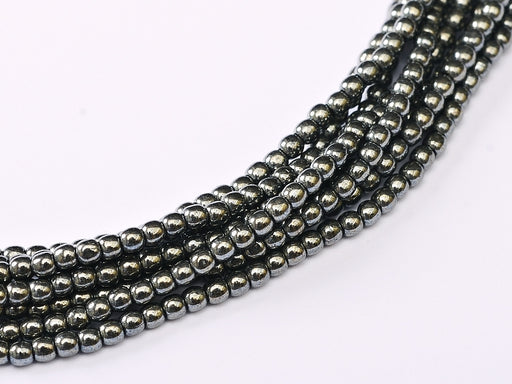 150 pcs Round Pressed Beads, 2mm, Jet Hematite, Czech Glass