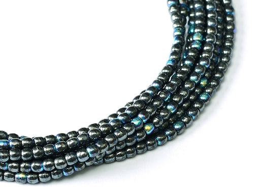 150 pcs Round Pressed Beads, 2mm, Jet Hematite AB, Czech Glass