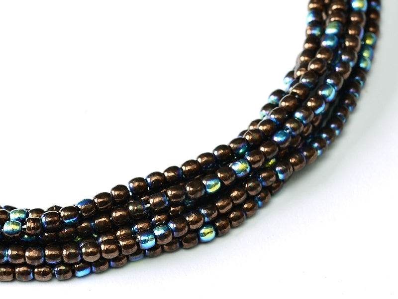 150 pcs Round Pressed Beads, 2mm, Jet Bronze AB, Czech Glass