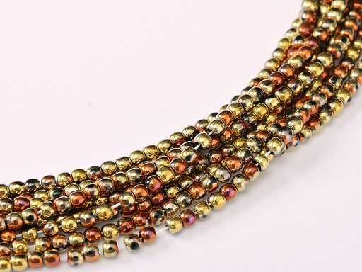 150 pcs Round Pressed Beads, 2mm, Jet California Gold Rush, Czech Glass